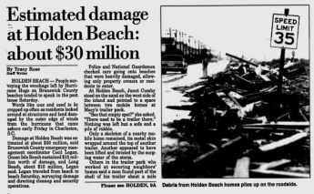 Holden Beach damage, Wilmington Star-News from September 24, 1989.