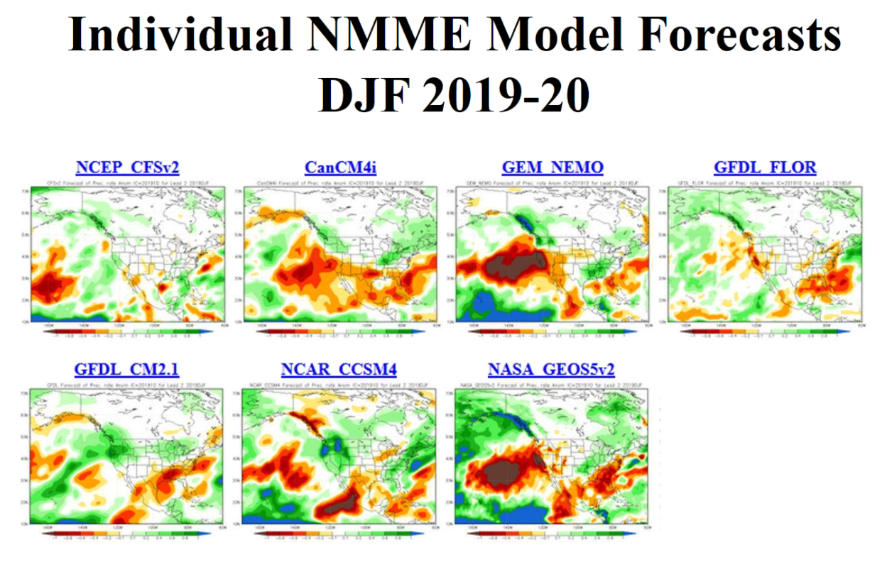 NMME Model Precipitation Forecasts for the 2019-2020 Winter Season
