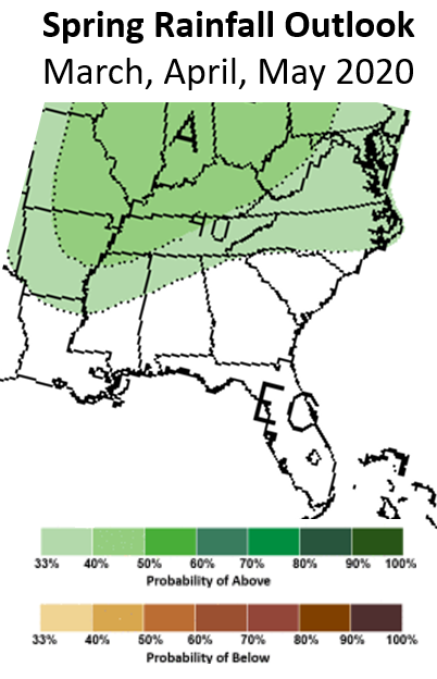 Spring 2020 rainfall outlook from the NWS Climate Prediction Center
