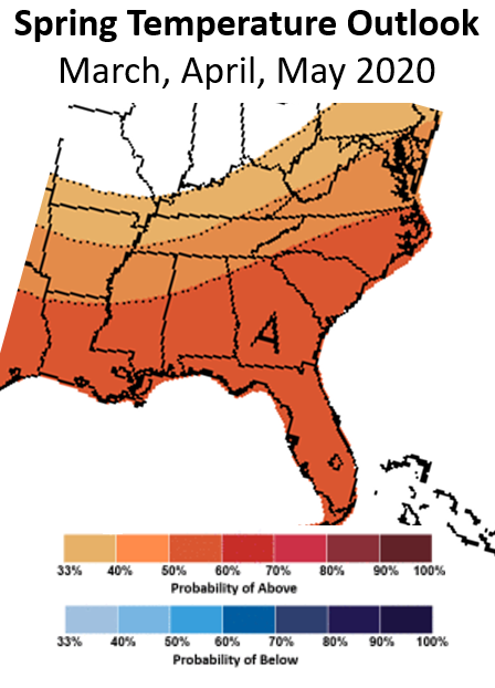 Spring 2020 temperature outlook from the NWS Climate Prediction Center