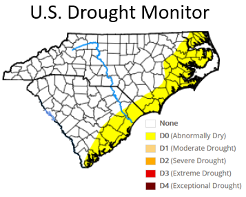 U.S. Drought Monitor classification in late January 2020 showed abnormally dry conditions in place across parts of eastern North Carolina