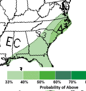 NWS Climate Prediction Center rainfall outlook for Fall 2020. There is a 40-50% chance of above normal rainfall.