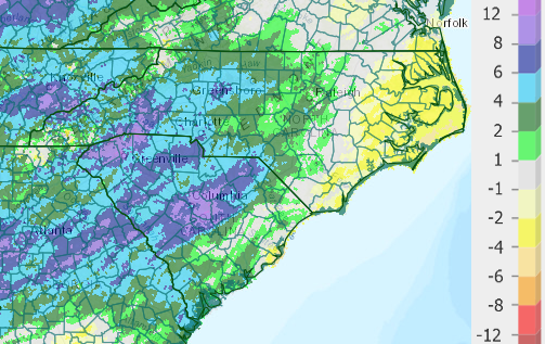 Rainfall departure from normal (inches) for North and South Carolina for the 180 days ending January 25, 2020.  Central and western North and South Carolina has seen above-normal rainfall over this period.
