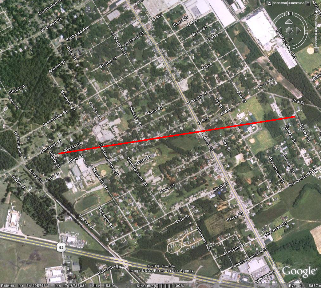 Image of Tornado track through Darlington County