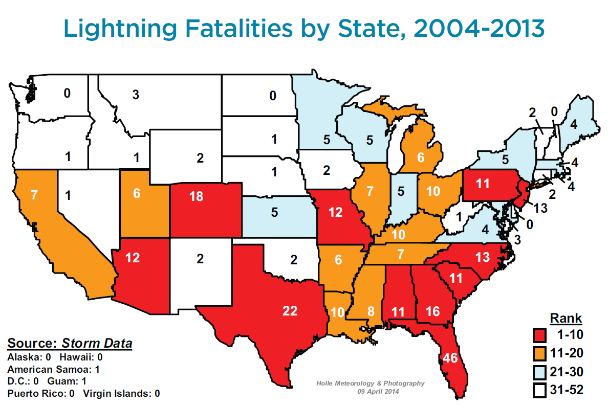 Lightning Safety Awareness Week - Us-lightning-strike-map