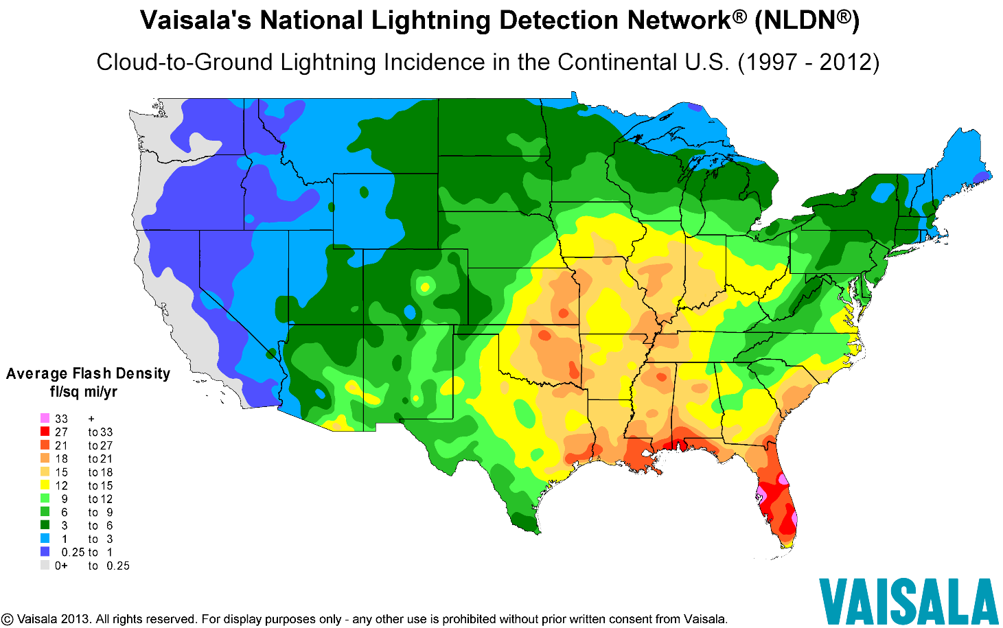 Us Lightning Strike Map Lightning Safety Awareness Week