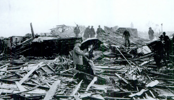 Charleston Big Four Railroad Depot after the storm. Image courtesy Coles County Historical Society