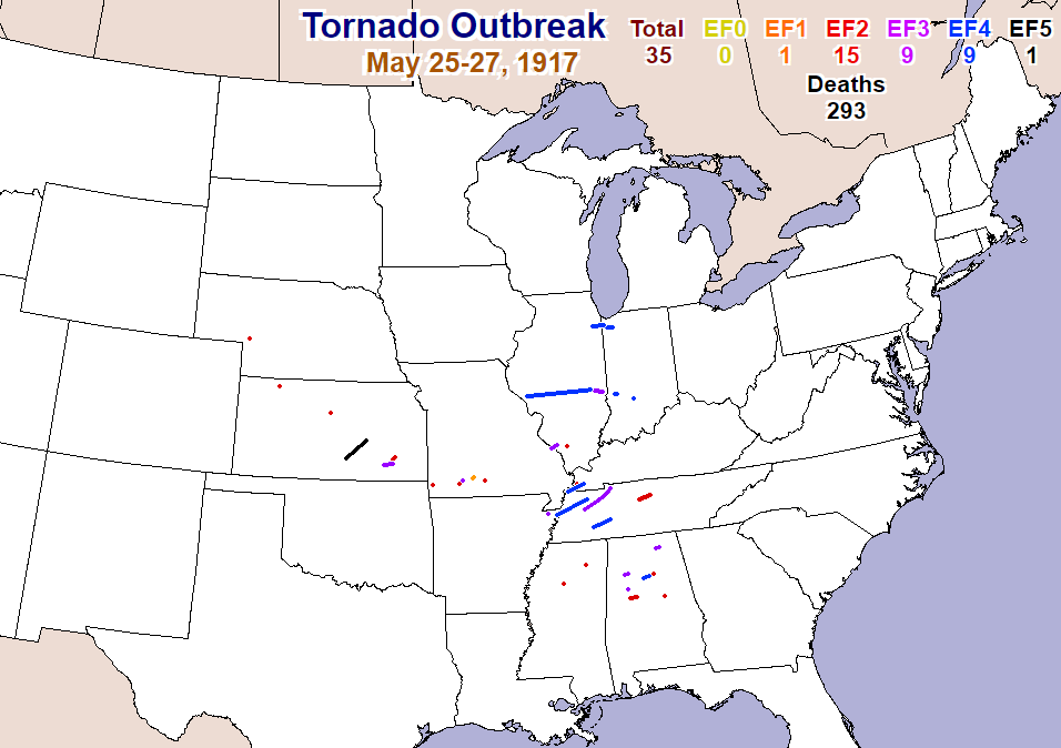May 25-27, 1917 tornado outbreak map, courtesy Storm Prediction Center