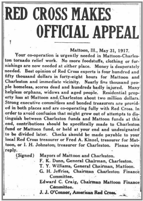 Appeal by the Red Cross, from the Mattoon Journal Gazette, 6/1/1917