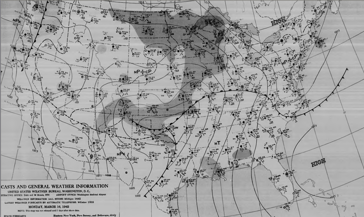 Surface map for morning of March 16th.
