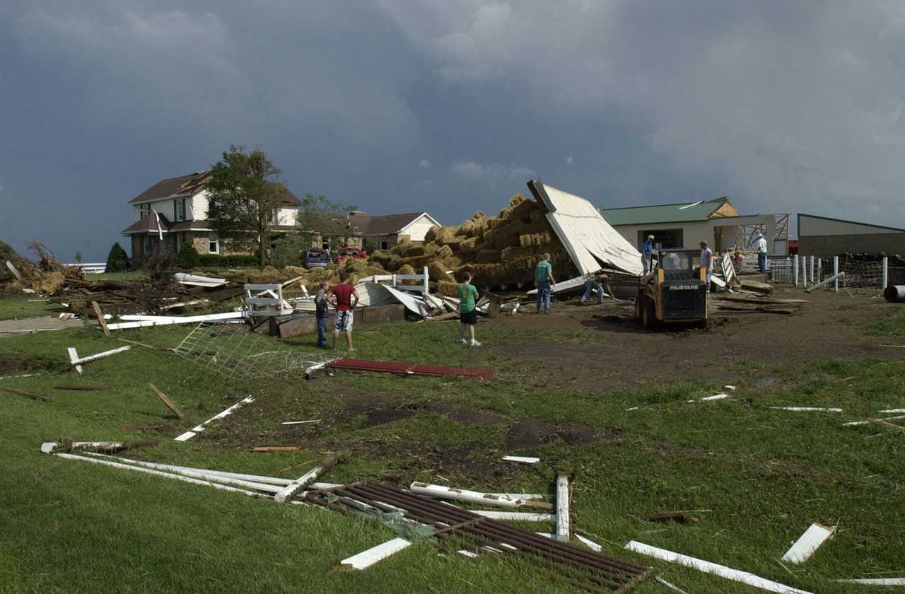 Photo of farmstead severely damaged by a tornado east of the Parsons Plant. Photo by Steve Smedley (Bloomington Pantagraph)