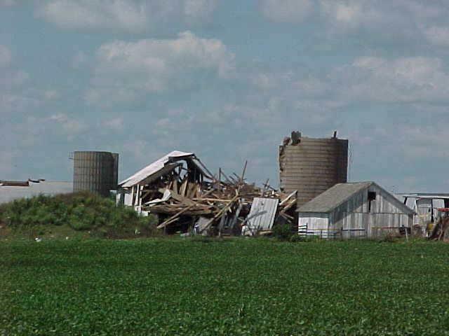 This barn was demolished southwest of Roanoke.