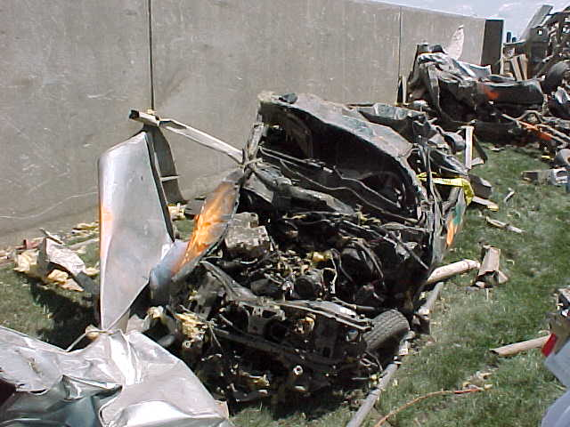 The remains of a car from the parking lot (northwest side of the Parsons complex) was on the south side of the complex afterward.