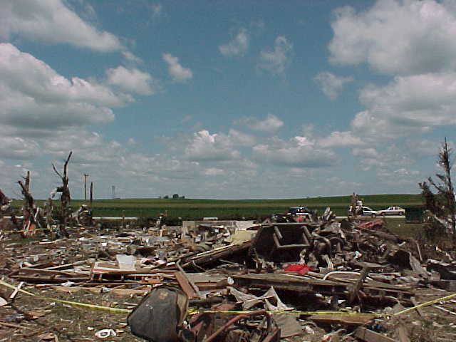 Debris is scattered all around this farmstead.