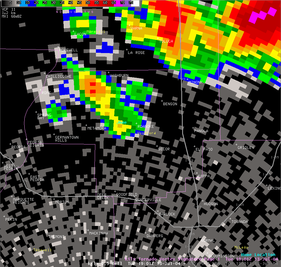 Reflectivity image from 2:01 pm