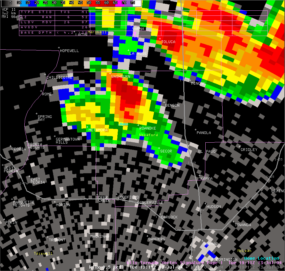 Reflectivity image from 2:11 pm