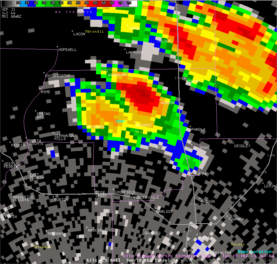 Reflectivity image from 2:16 pm