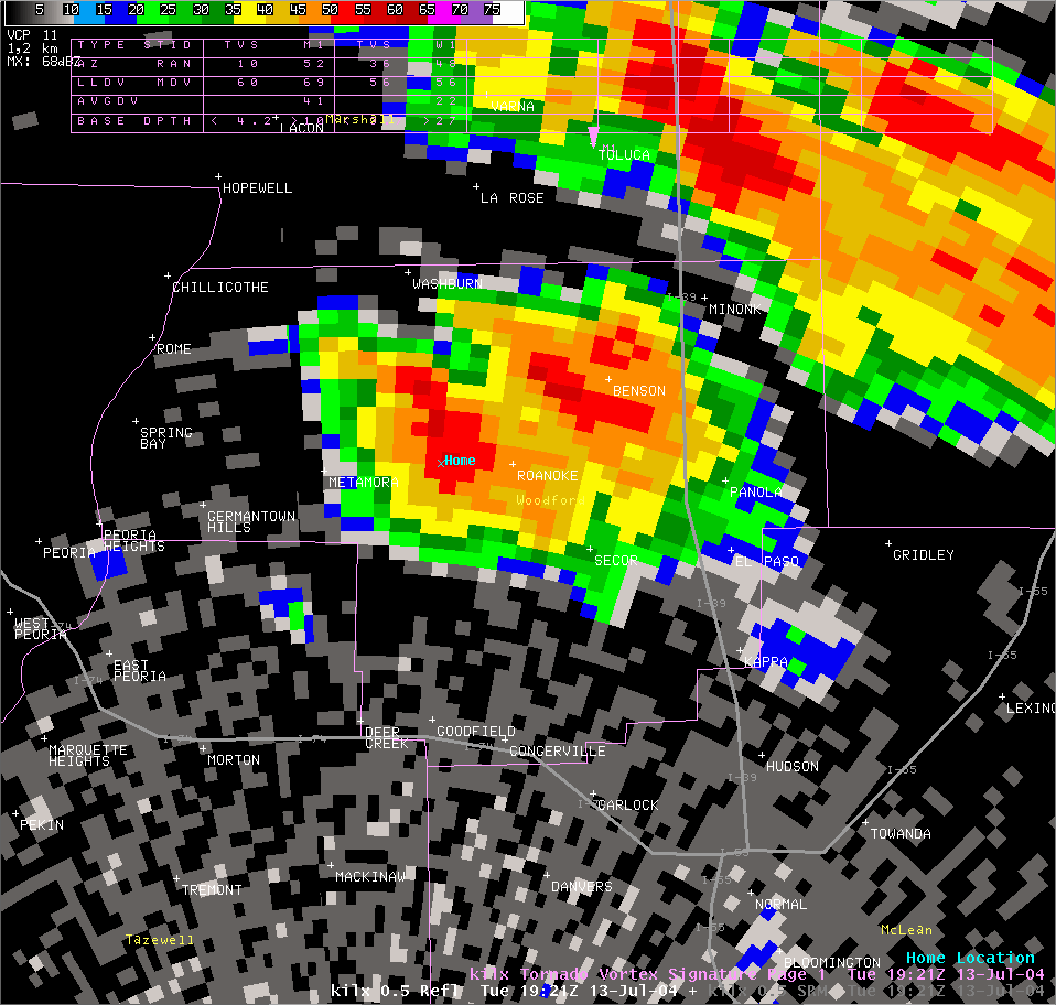 Reflectivity image from 2:21 pm