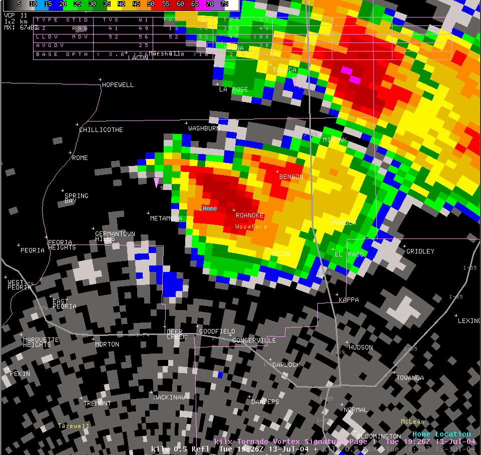 Reflectivity image from 2:26 pm