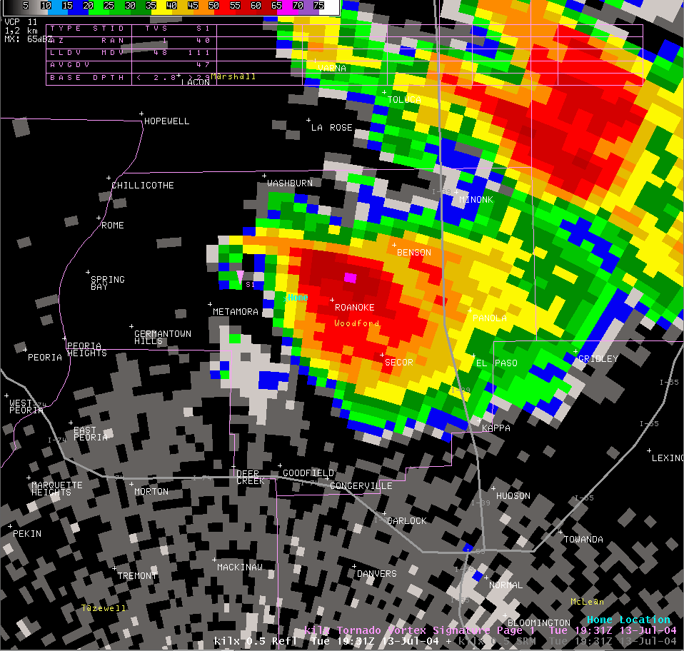 Reflectivity image from 2:31 pm