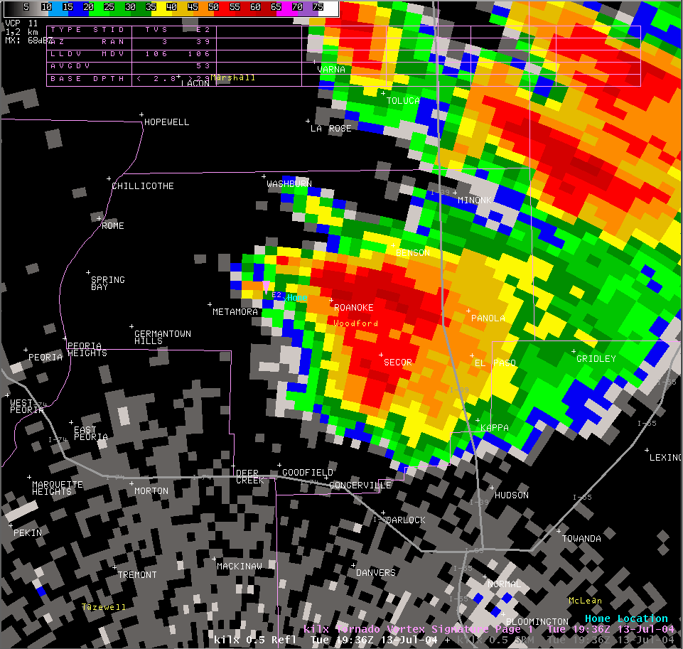 Reflectivity image from 2:36 pm
