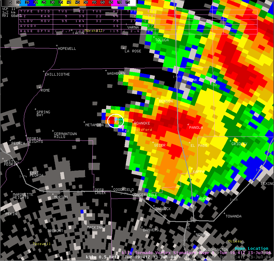Reflectivity image from 2:41 pm