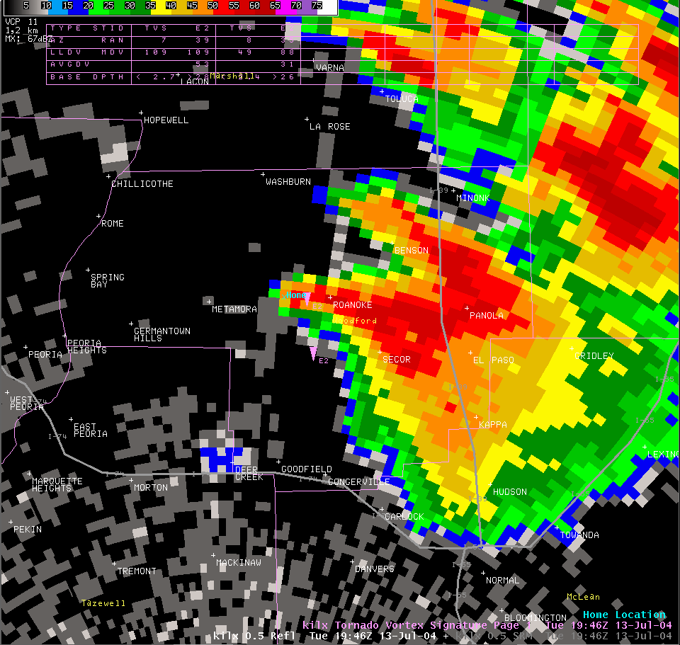 Reflectivity image from 2:46 pm