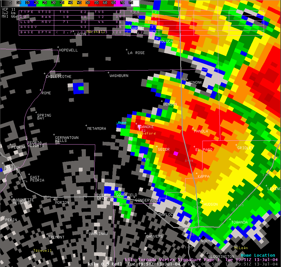 Reflectivity image from 2:51 pm