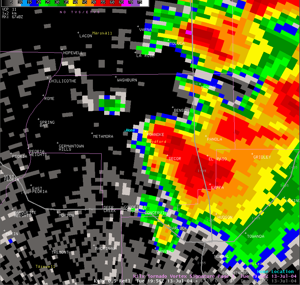 Reflectivity image from 2:56 pm