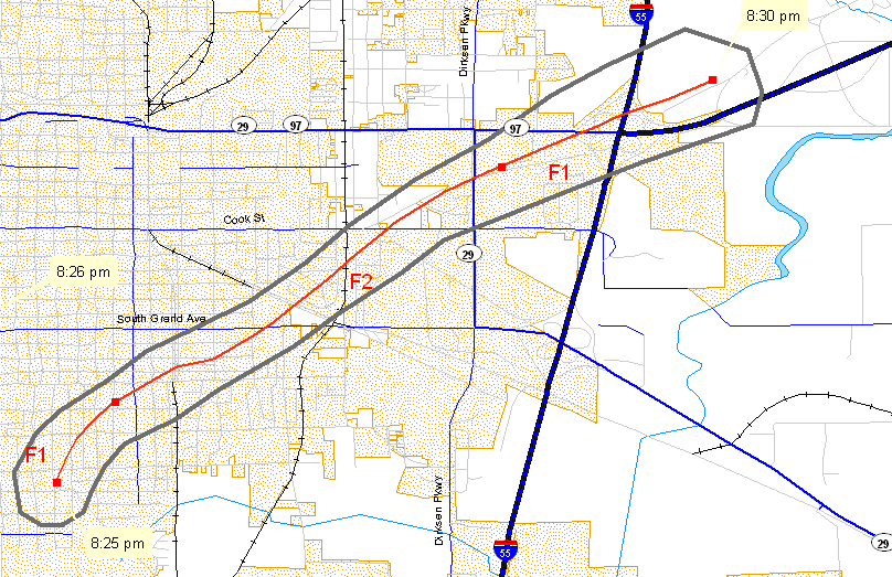 Track of second Springfield tornado of 3/12/2006