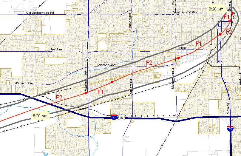 Track of first tornado, on southwest and south side of Springfield