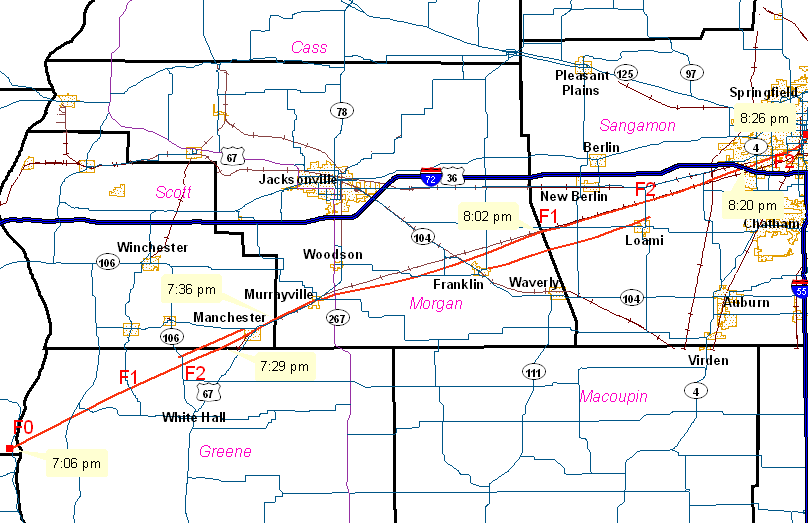 National Weather Service Lincoln IL LongTrack Tornado Across - National weather service lincoln illinois