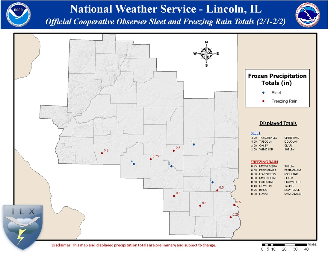 Storm total snowfall, based on cooperative weather observations
