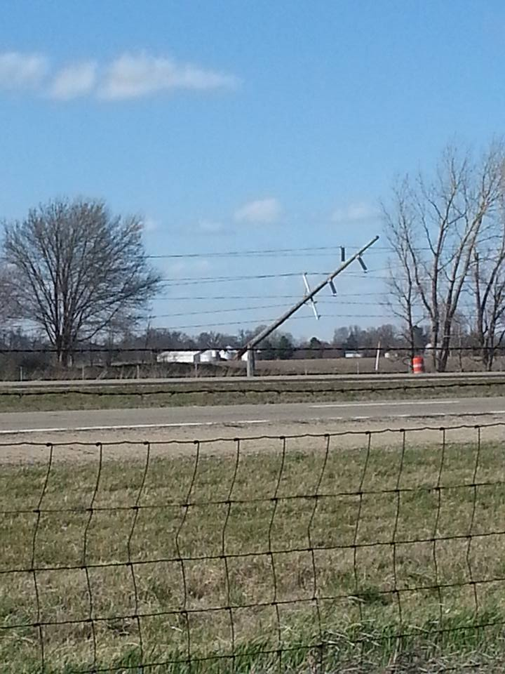 Leaning power pole near Lawndale.  Photo by Kathy Payne