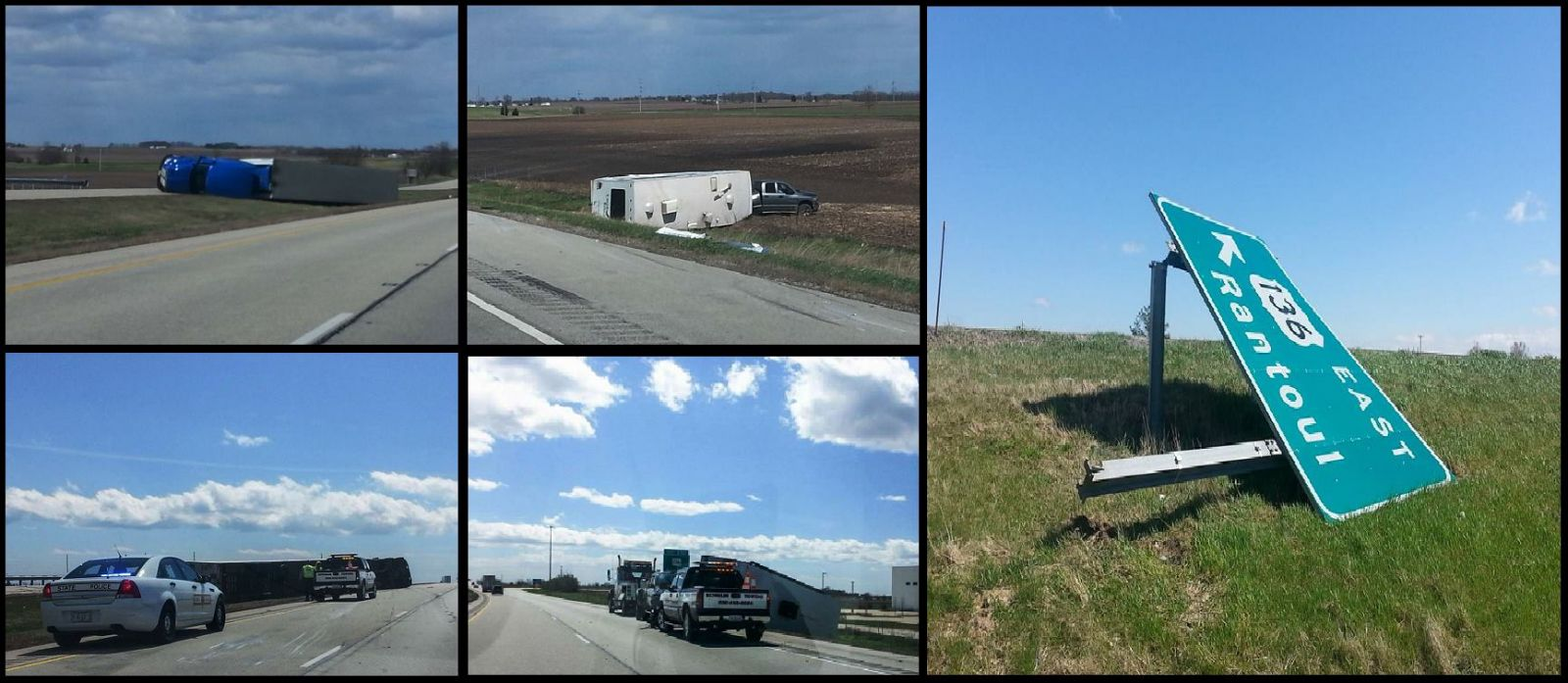 Collection of wind damage images on I-57 near Rantoul. Photos by Rich Lewis.