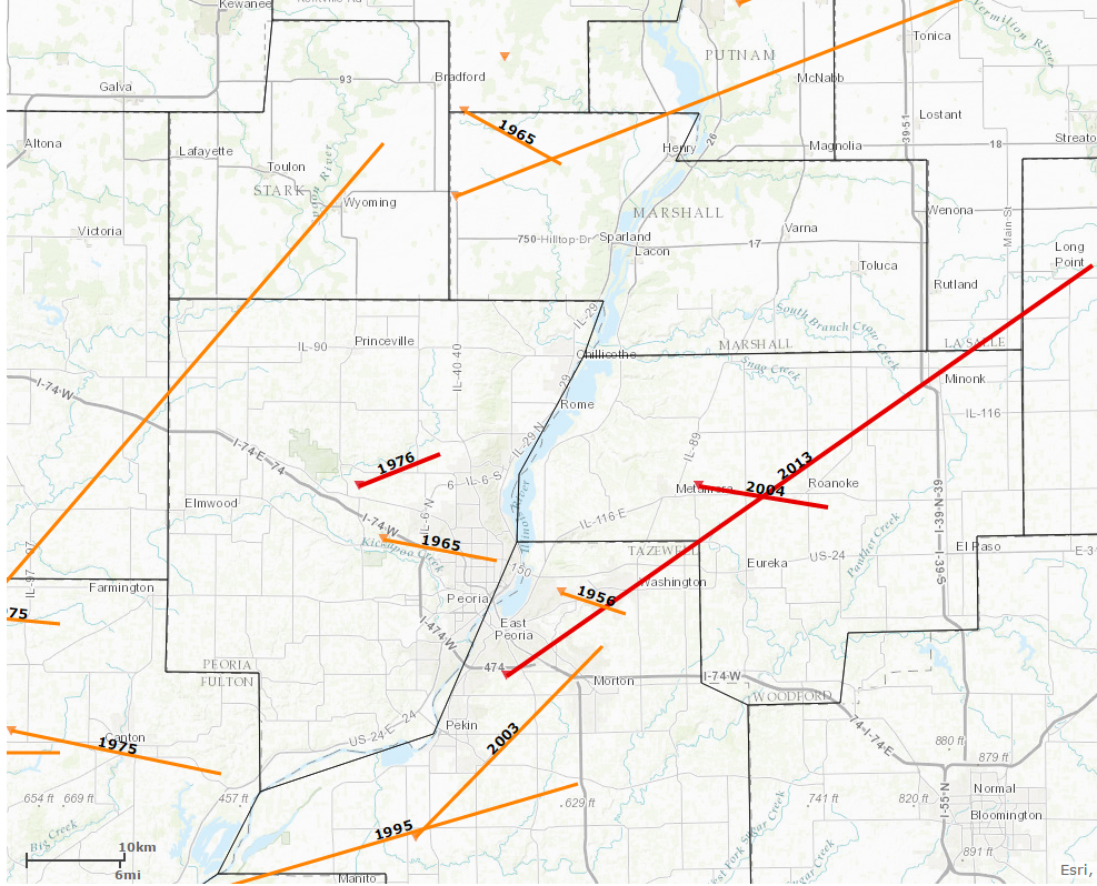 F3/EF3-strength tornadoes reported near Washburn since 1950. Image courtesy Midwestern Regional Climate Center.