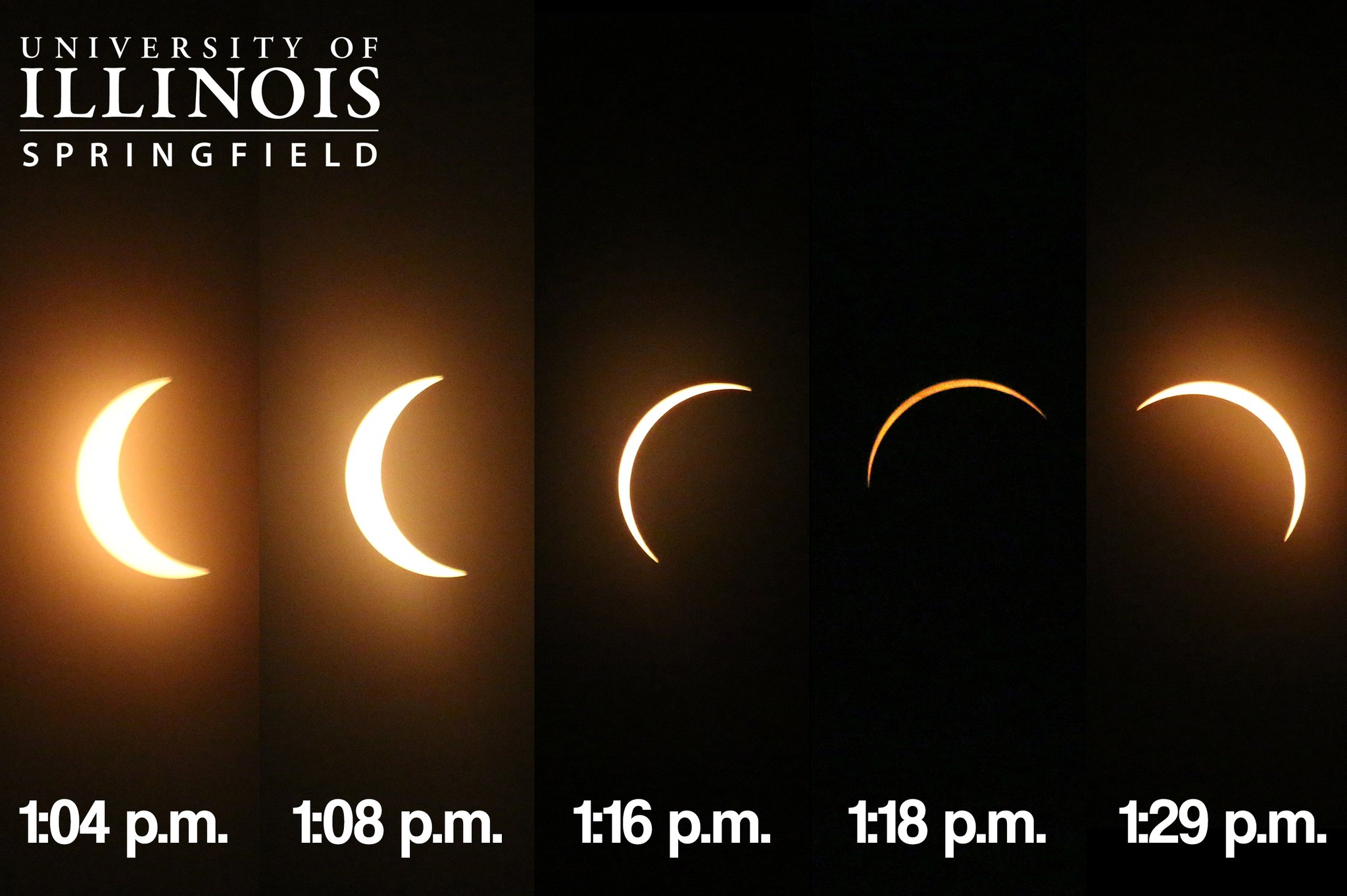 Time sequence of the solar eclipse in Springfield, by the University of Illinois at Springfield