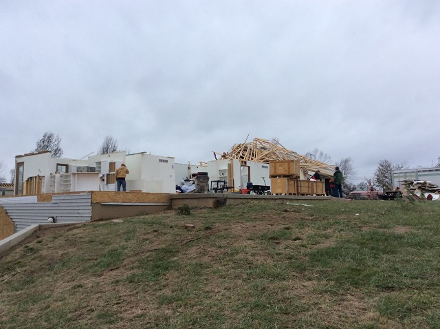Damage in Taylorville. NWS photo.