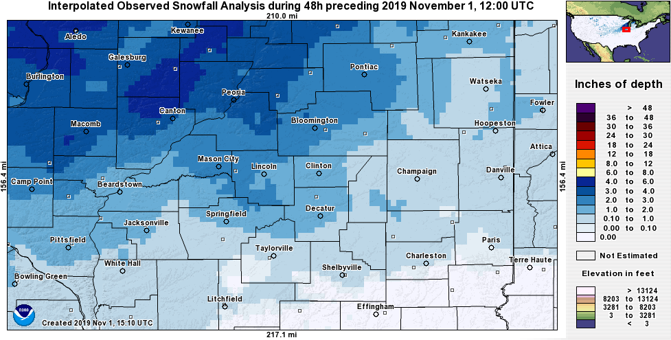 Snowfall ending 7 am Friday, November 1st. Image from NOAA NOHRSC