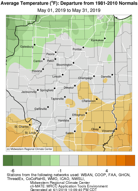 May 2019 Average Temperature Departure from Normal Central IL