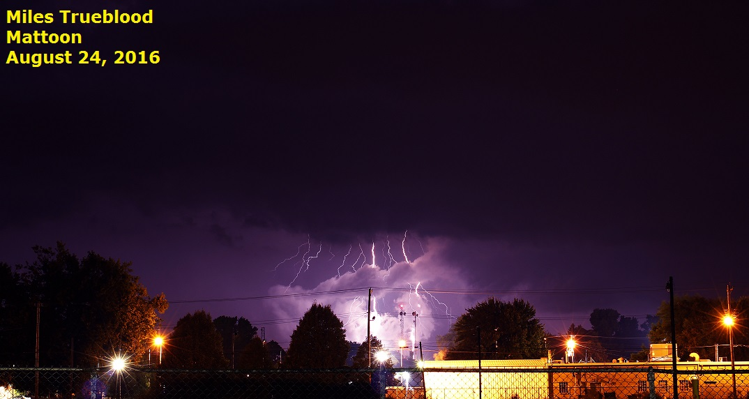 Lightning over Mattoon, 8/24/2016. Photo by Miles Trueblood