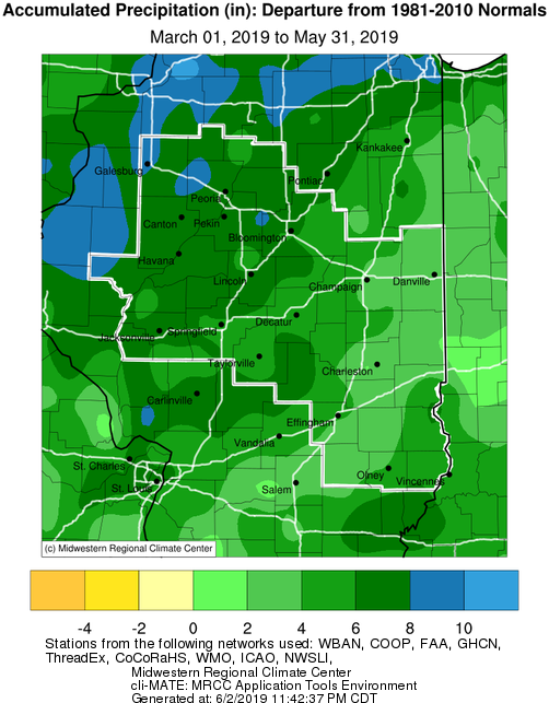 Spring 2019 Precipitation Departure from Normal in Central IL