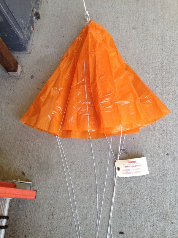 Close-up view of the parachute