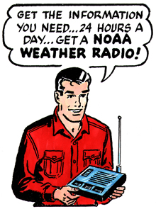 "Mark Trail comic strip saying ""Get the information you need...24 hours a day...get a NOAA Weather Radio!"""