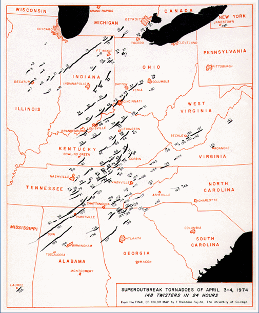 Map of Tornado Paths, courtesy of the Storm Prediction Center
