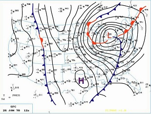 Surface Map at 7 am EST January 26, 1978. Click to enlarge.