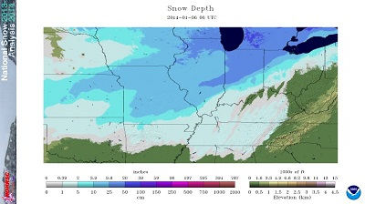 Snow depth across midwest as of 1:00 AM January 6 - Click to enlarge