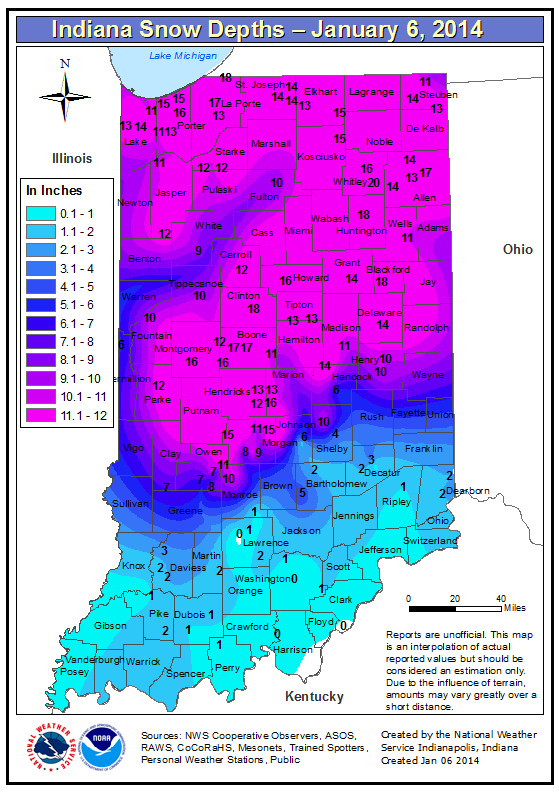 Indiana Snow Depth Map As Of 7 00 Am January 6