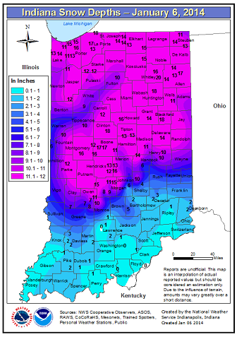 Snow depth as of 7:00 AM January 6. Click to enlarge.
