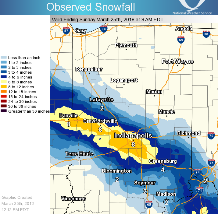 Snowfall Map ending 8 AM EDT March 25